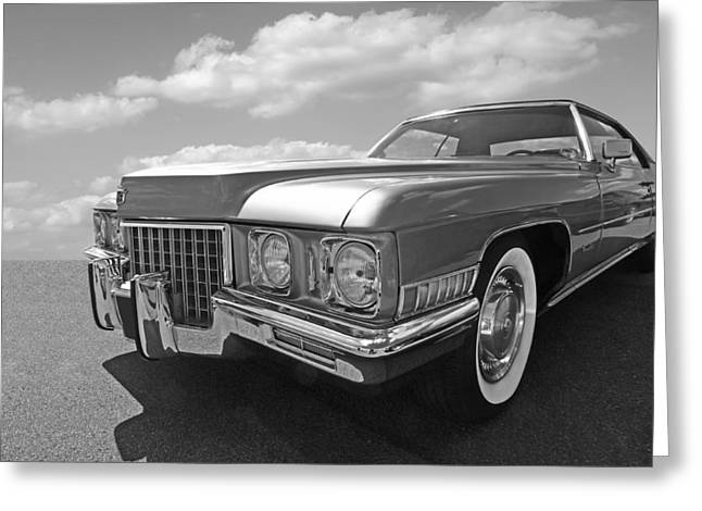 Cadillac Coupe De Ville 1971 In Black And White Greeting Card