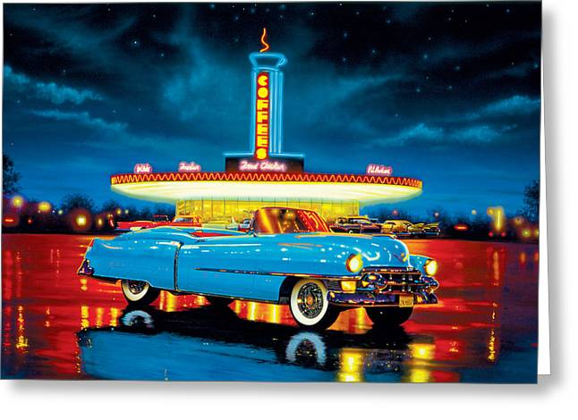 80s Greeting Cards - Cadillac Diner Greeting Card by MGL Studio - Chris Hiett
