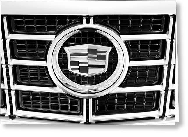 Cadillac Emblem Front Bw Greeting Card