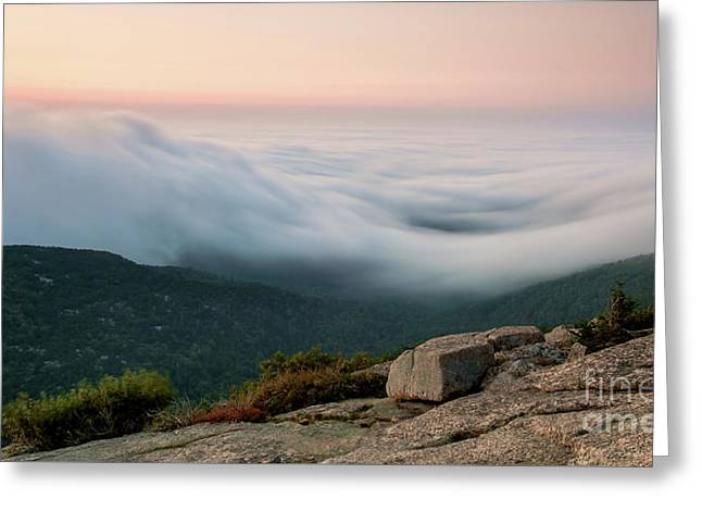 Cadillac Mountain At Sunrise, Greeting Card
