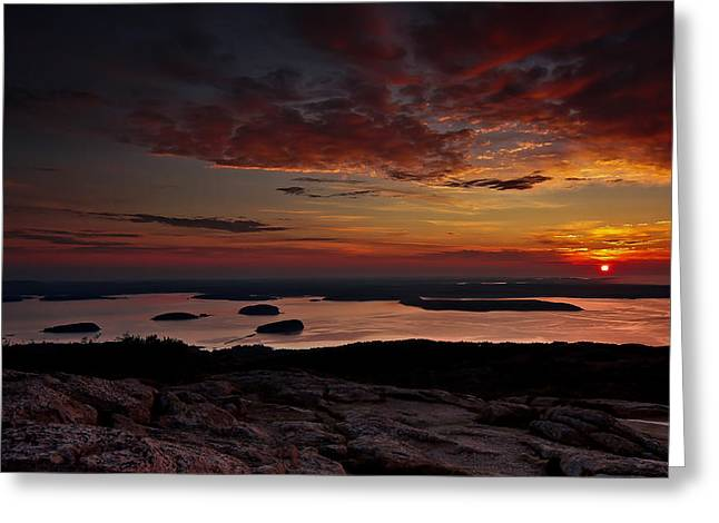Down East Greeting Cards - Cadillac Mountain sunrise Greeting Card by Chad Tracy