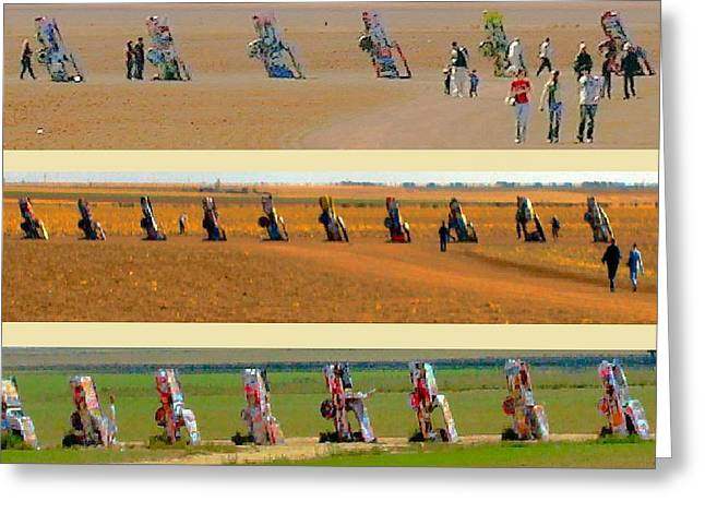 Cadillac Ranch Revisited Greeting Card by Robert Morrissey
