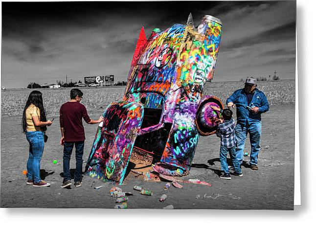 Cadillac Ranch Spray Paint Fun Along Historic Route 66 By Amarillo Texas Greeting Card by Randall Nyhof