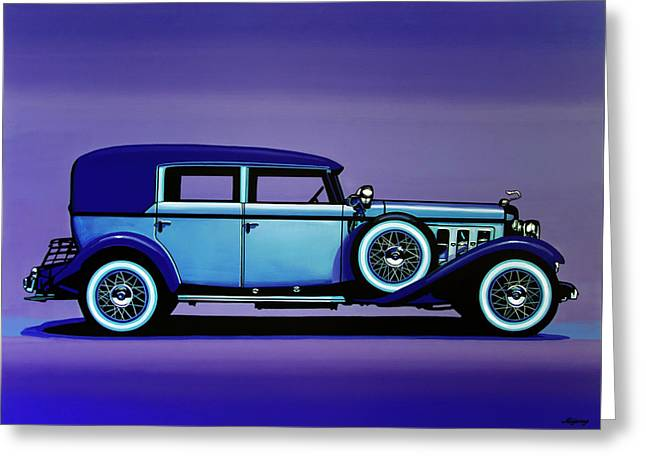 Cadillac V16 1930 Painting Greeting Card