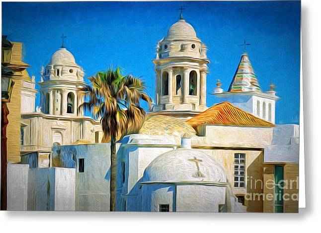 Cadiz Cathedral Greeting Card by Sue Melvin