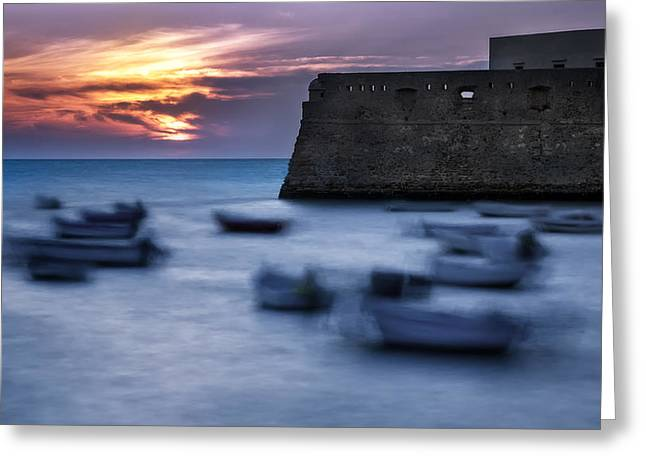 Cadiz Sunset Greeting Card by Hernan Bua