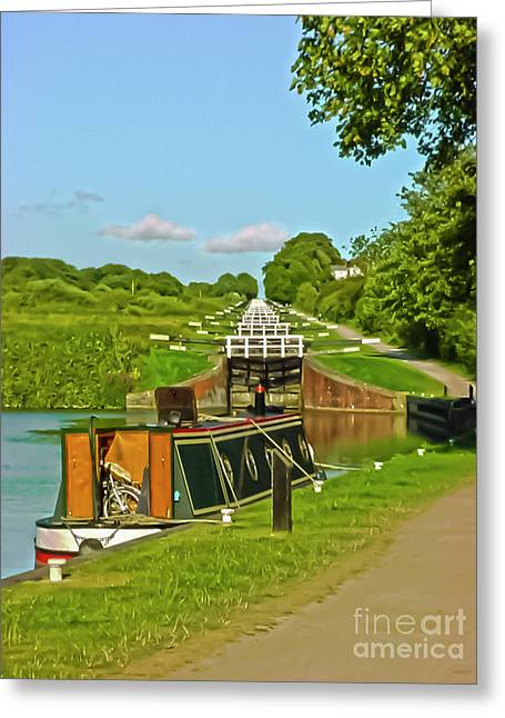 Caen Hill Locks Wiltshire Greeting Card by Terri Waters