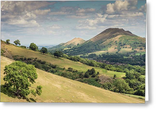 Caer Caradoc And The Lawley Greeting Card by Richard Greswell