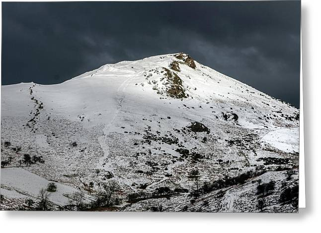 Caer Caradoc Winter Greeting Card by Richard Greswell