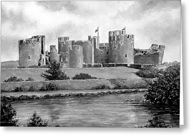 Caerphilly Castle Bw Greeting Card
