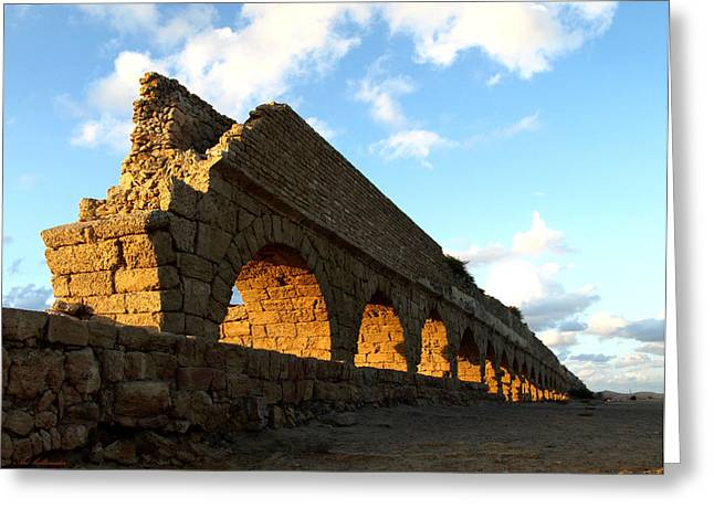 Caesarea  Aqueduct At Sunset. Greeting Card
