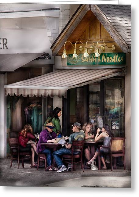 Cafe - Westfield Nj - Gabi's Sushi And Noodles Greeting Card by Mike Savad
