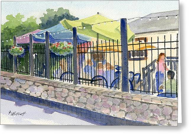 Cafe At Lock 29 Greeting Card by Marsha Elliott
