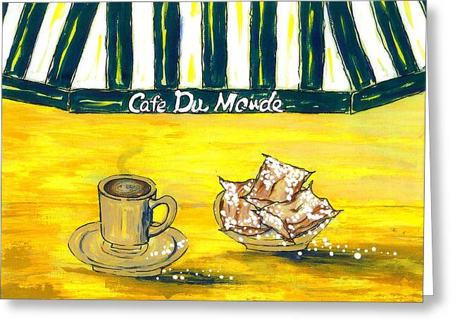 Cafe Au Lait And Beignets On Yellow Background Greeting Card by Catherine Wilson