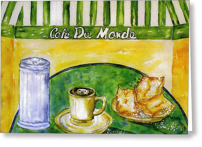 Cafe Au Lait And Beignets With Sugar Greeting Card by Catherine Wilson