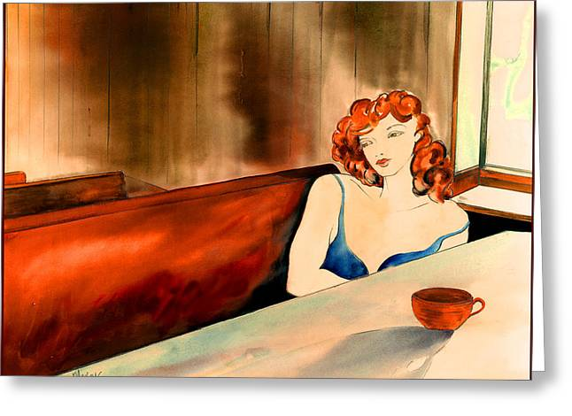 Cafe Au Lait Greeting Card by Leslie Marcus