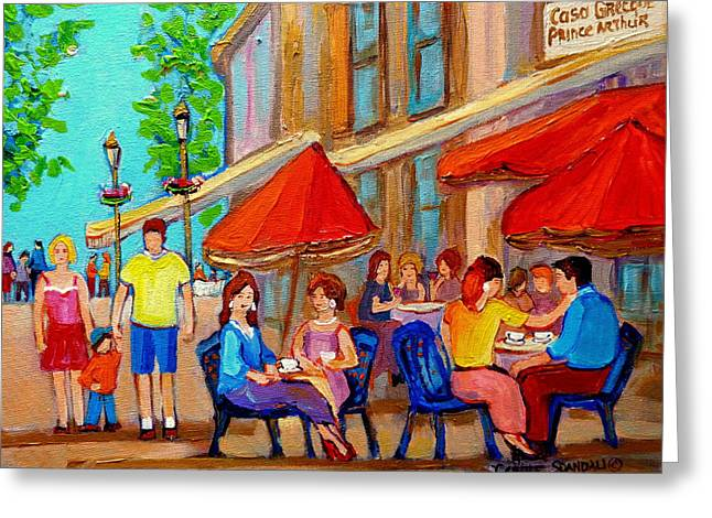 Streetfood Greeting Cards - Cafe Casa Grecque Prince Arthur Greeting Card by Carole Spandau