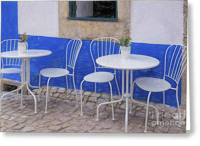 Greeting Card featuring the photograph Cafe Chairs, Obidos by Brenda Tharp