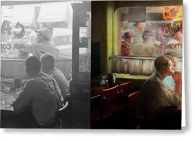 Cafe - Cold Drinks With Friends 1941 - Side By Side Greeting Card