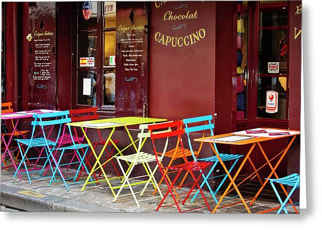 Cafe Color - Paris, France Greeting Card