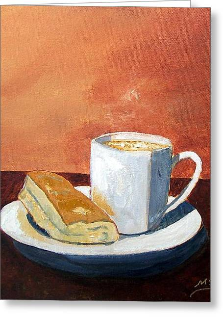 Cafe Con Leche Y Tostada Greeting Card by Maria Soto Robbins