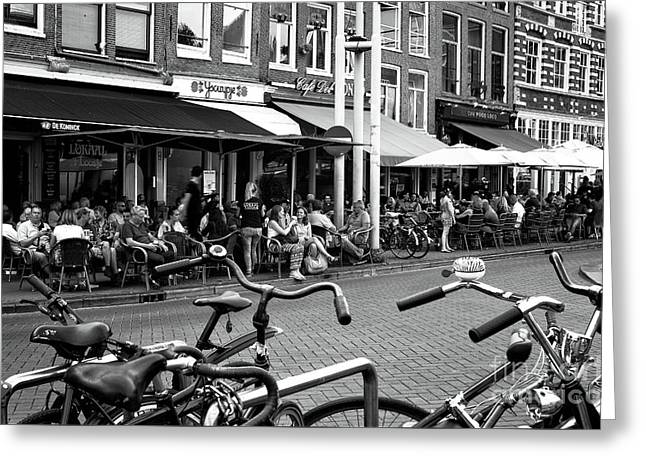 Cafe Crowds In Amsterdam Mono Greeting Card by John Rizzuto