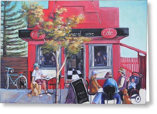 Cafe Culture Greeting Card by Kathy  Karas