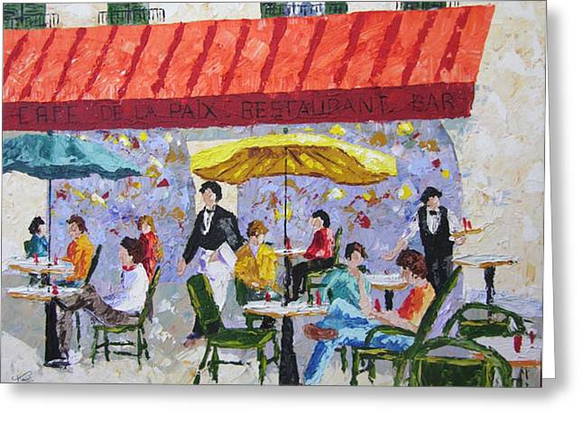 Cafe De La Paix Paris France Greeting Card