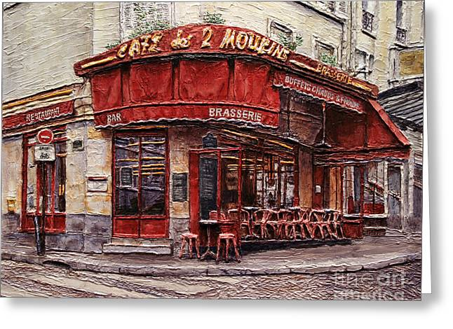Greeting Card featuring the painting Cafe Des 2 Moulins- Paris by Joey Agbayani