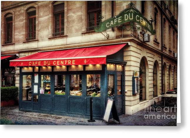 Cafe Du Centre Greeting Card by George Oze