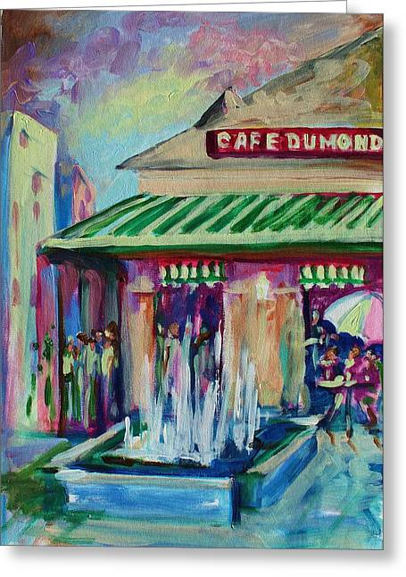 Cafe Du Monde Greeting Card by Saundra Bolen Samuel
