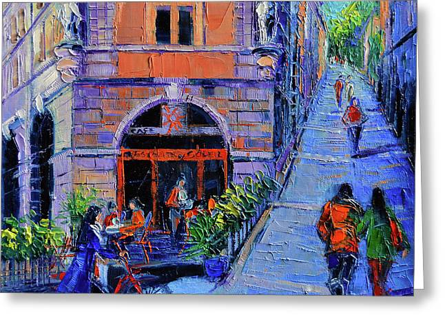 Cafe Du Soleil Lyon Greeting Card