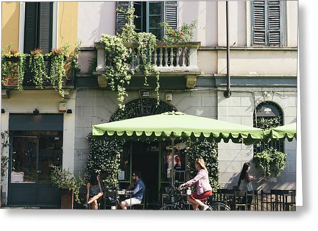 Cafe In Milan Greeting Card
