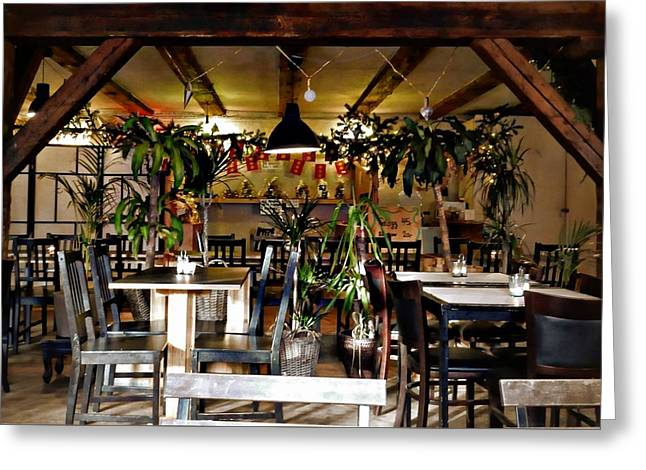Cafe Interior Christianshavn Copenhagen Greeting Card