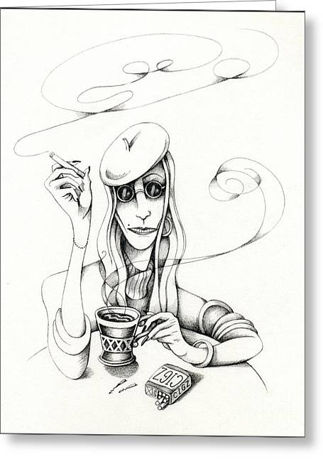 Cafe Lady Greeting Card