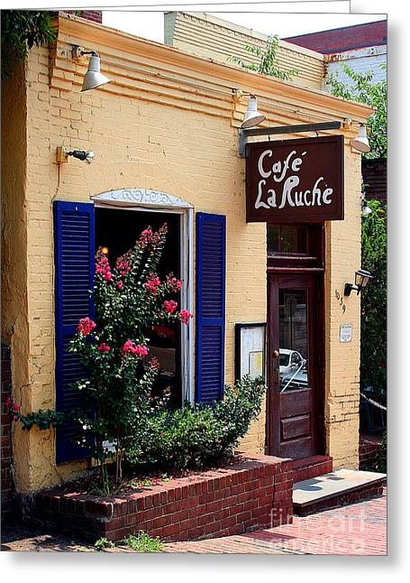 Greeting Card featuring the photograph Cafe Laruche by Adrian LaRoque