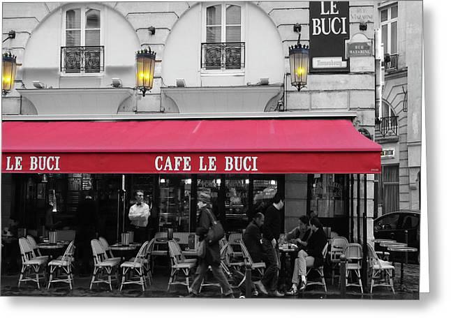 Cafe Le Buci Greeting Card by Tom Reynen