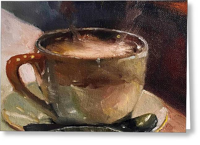 Cafe Love Coffee Painting Greeting Card