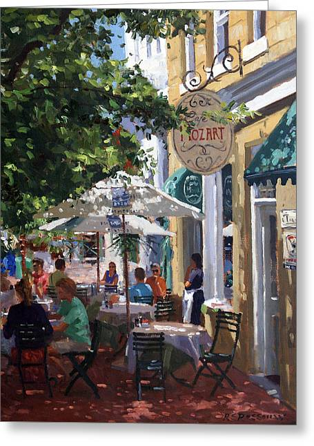Cafe Mozart, Cape Town Greeting Card by Roelof Rossouw