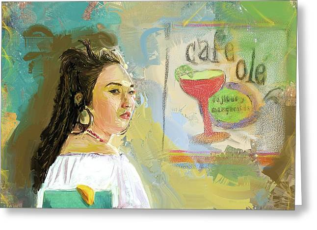 Cafe Ole Girl Greeting Card