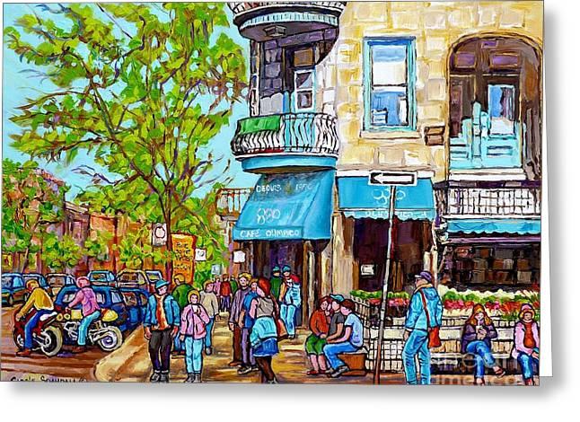 Cafe Olimpico Plateau Mont Royal Cafe Street Scene Painting Carole Spandau Canadian Artist           Greeting Card