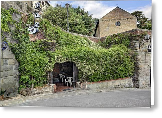 Cafe Orsini Tuscany Greeting Card by Al Hurley