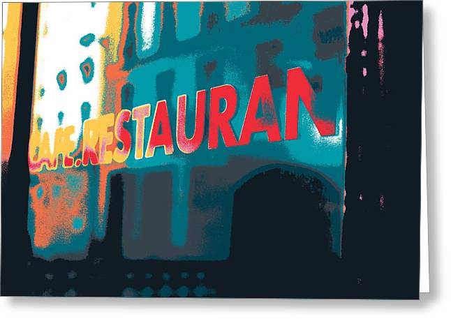 Cafe Restaurant  Greeting Card by Shay Culligan
