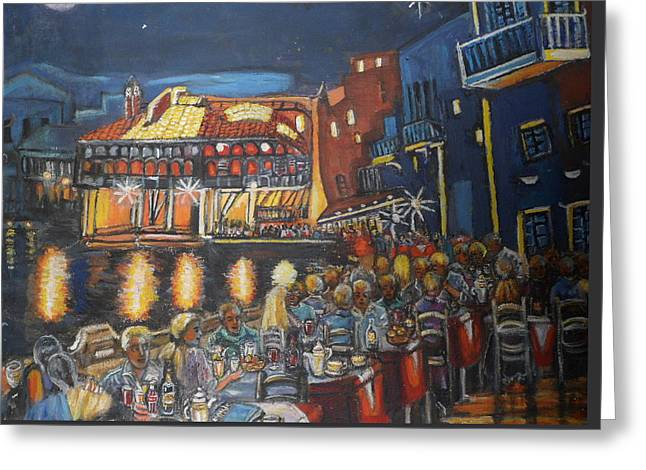 Cafe Scene At Night Greeting Card