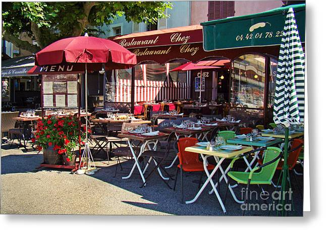 Cafe Scene In France Greeting Card