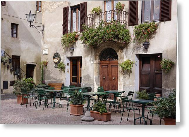 Flagstone Greeting Cards - Cafe Seating in the Piazza di Spagna Greeting Card by Jeremy Woodhouse