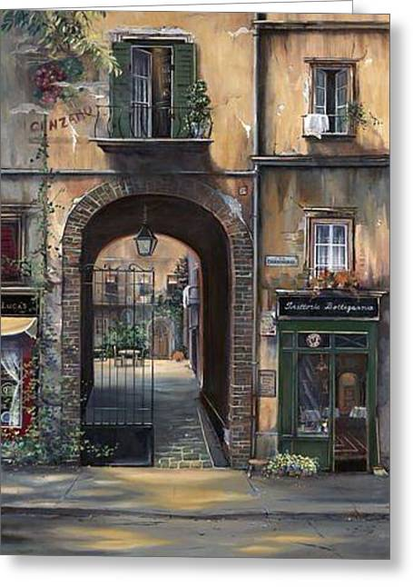 Cafe Sienna Italy Greeting Card by Barbara Davies
