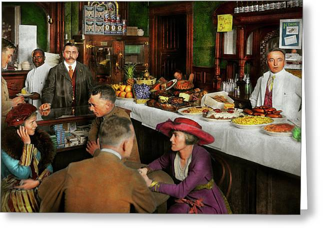 Greeting Card featuring the photograph Cafe - Temptations 1915 by Mike Savad