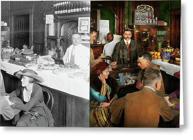 Greeting Card featuring the photograph Cafe - Temptations 1915 - Side By Side by Mike Savad