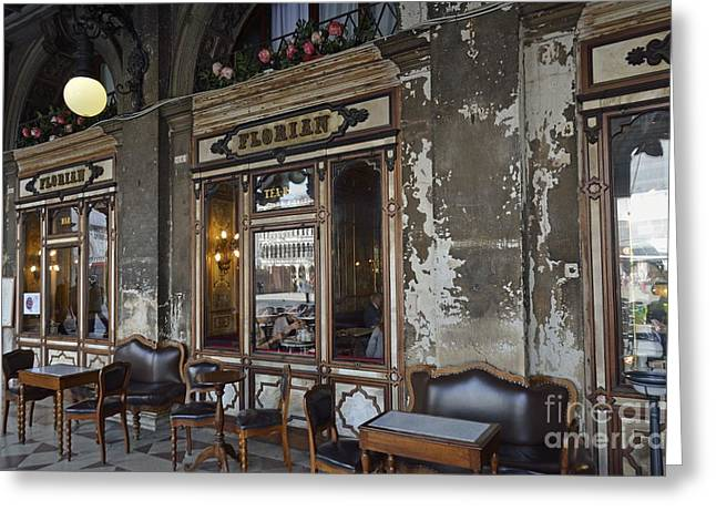 Cafe Terrace On Piazza San Marco Greeting Card by Sami Sarkis